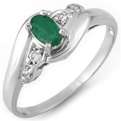 0.42 CTW Emerald & Diamond Ring 10K White Gold - REF-17M3H - 10981