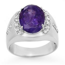 7.33 CTW Tanzanite & Diamond Men's Ring 10K White Gold - REF-251F8N - 13418
