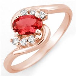 0.50 CTW Pink Tourmaline & Diamond Ring 14K Rose Gold - REF-24W8F - 10080