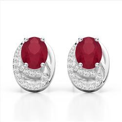 2.50 Ruby & Micro Pave VS/SI Diamond Stud Earrings 10K White Gold - REF-25A6X - 22336