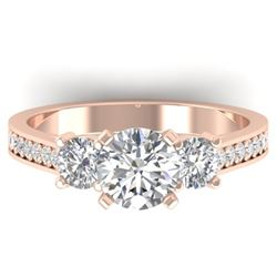 1.75 CTW Certified VS/SI Diamond 3 Stone Ring 14K Rose Gold - REF-389F8N - 30388