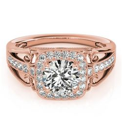 1.3 CTW Certified VS/SI Diamond Solitaire Halo Ring 18K Rose Gold - REF-388K8W - 26552