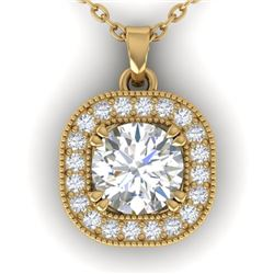 1.02 CTW Certified VS/SI Diamond Stud Micro Halo Necklace 14K Yellow Gold - REF-173Y6K - 30437