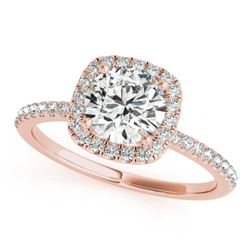 1 CTW Certified VS/SI Diamond Solitaire Halo Ring 18K Rose Gold - REF-188X2T - 26198
