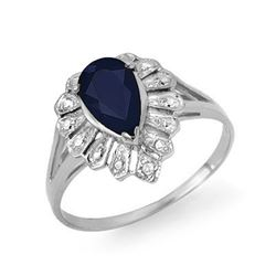 1.12 CTW Blue Sapphire & Diamond Ring 18K White Gold - REF-25M8H - 13553