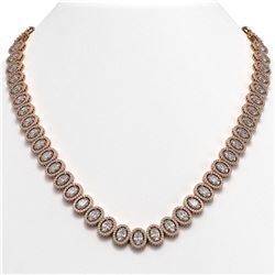 42.56 CTW Oval Diamond Designer Necklace 18K Rose Gold - REF-7835N8Y - 42813