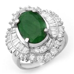 6.0 CTW Emerald & Diamond Ring 18K White Gold - REF-222F8N - 13068