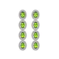 5.88 CTW Peridot & Diamond Halo Earrings 10K White Gold - REF-112W5F - 40529