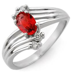 0.80 CTW Red Sapphire & Diamond Ring 10K White Gold - REF-21N5Y - 10383