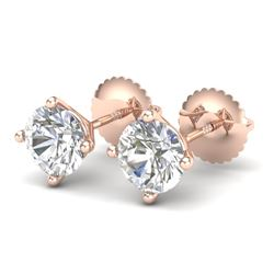 1.5 CTW VS/SI Diamond Solitaire Art Deco Stud Earrings 18K Rose Gold - REF-309W3F - 37302