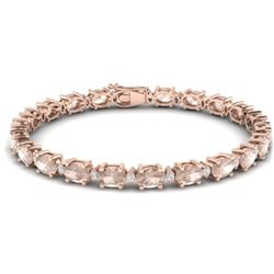 21.2 CTW Morganite & VS/SI Certified Diamond Eternity Bracelet 10K Rose Gold - REF-290M2H - 29456