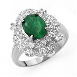 3.31 CTW Emerald & Diamond Ring 18K White Gold - REF-89T3M - 13079