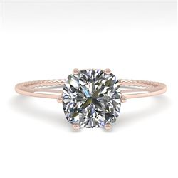 1.0 CTW VS/SI Cushion Diamond Solitaire Engagement Ring Size 7 18K Rose Gold - REF-287T4M - 35897