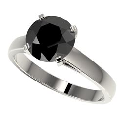 2.59 CTW Fancy Black VS Diamond Solitaire Engagement Ring 10K White Gold - REF-55F5N - 36563
