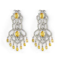 17.30 CTW Yellow Sapphire & Diamond Earrings 14K White Gold - REF-488K8W - 11100
