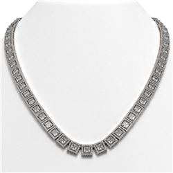 41.80 CTW Princess Diamond Designer Necklace 18K White Gold - REF-7719N3Y - 42722
