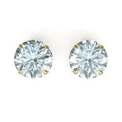 4 CTW Sky Blue Topaz Designer Inspired Solitaire Stud Earrings 18K Yellow Gold - REF-29F3N - 21847