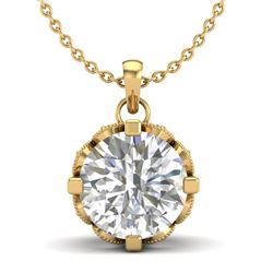 1.5 CTW VS/SI Diamond Solitaire Art Deco Stud Necklace 18K Yellow Gold - REF-363X5T - 36847