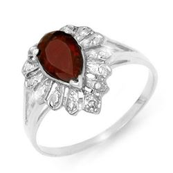 1.11 CTW Garnet & Diamond Ring 18K White Gold - REF-24N8Y - 13609