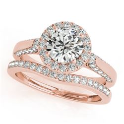 1.54 CTW Certified VS/SI Diamond 2Pc Wedding Set Solitaire Halo 14K Rose Gold - REF-227X8T - 30829