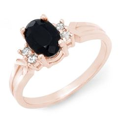 1.29 CTW Blue Sapphire & Diamond Ring 14K Rose Gold - REF-24K9W - 12375