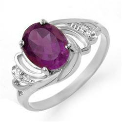 1.48 CTW Amethyst & Diamond Ring 18K White Gold - REF-32K8W - 12679