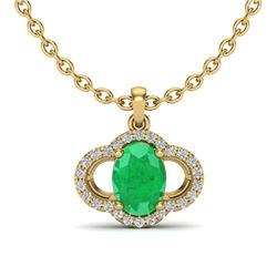 2 CTW Emerald & Micro Pave VS/SI Diamond Necklace 10K Yellow Gold - REF-30N2Y - 20631