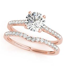 1.07 CTW Certified VS/SI Diamond Solitaire 2Pc Wedding Set 14K Rose Gold - REF-197K3W - 31740