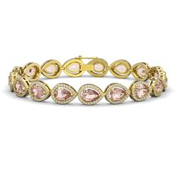 16.59 CTW Morganite & Diamond Halo Bracelet 10K Yellow Gold - REF-388A2X - 41104