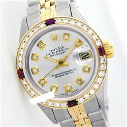 Rolex Men's Two Tone 14K Gold/SS, QuickSet, Diam Dial & Diam/Ruby Bezel - REF-557H4W