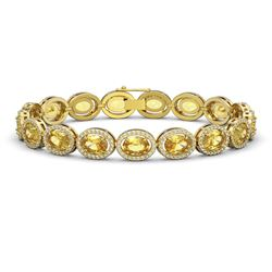20.36 CTW Fancy Citrine & Diamond Halo Bracelet 10K Yellow Gold - REF-246M8H - 40645
