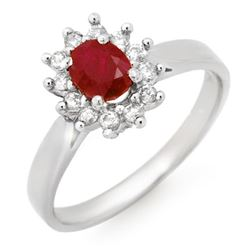 0.70 CTW Ruby & Diamond Ring 14K White Gold - REF-26W4F - 14059
