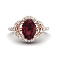 2 CTW Garnet & Micro Pave VS/SI Diamond Ring 10K Rose Gold - REF-33Y3K - 20983