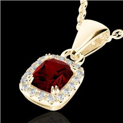 1.25 CTW Garnet & Micro Pave VS/SI Diamond Halo Necklace 10K Yellow Gold - REF-27Y3K - 22885