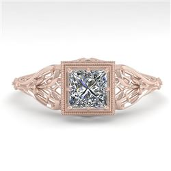 0.50 CTW VS/SI Princess Diamond Solitaire Engagement Ring Deco 18K Rose Gold - REF-113W8F - 36023