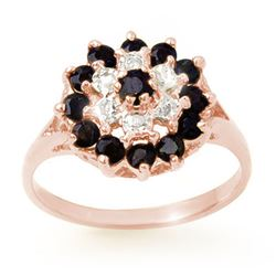 1.02 CTW Blue Sapphire & Diamond Ring 18K Rose Gold - REF-31H5A - 12312