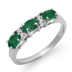 0.88 CTW Emerald & Diamond Ring 10K White Gold - REF-20W5F - 12572