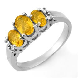 1.39 CTW Yellow Sapphire & Diamond Ring 18K White Gold - REF-42X4T - 10330
