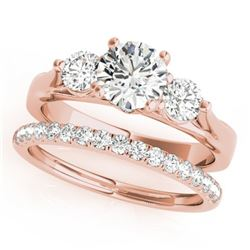 1.67 CTW Certified VS/SI Diamond 3 Stone 2Pc Wedding Set 14K Rose Gold - REF-255X6T - 32031