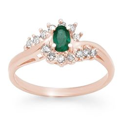 0.45 CTW Emerald & Diamond Ring 14K Rose Gold - REF-25A8X - 12506