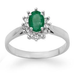 0.70 CTW Emerald & Diamond Ring 14K White Gold - REF-27M3H - 13721