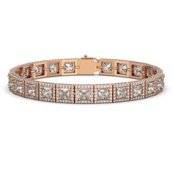 18.24 CTW Princess Diamond Designer Bracelet 18K Rose Gold - REF-3369Y8K - 42726