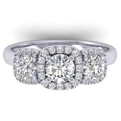 1.55 CTW Certified VS/SI Diamond Solitaire 3 Stone Ring 14K White Gold - REF-182T5M - 30426