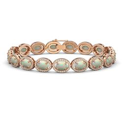 14.24 CTW Opal & Diamond Halo Bracelet 10K Rose Gold - REF-298A2X - 40617