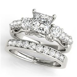 1.85 CTW Certified VS/SI Diamond 3 Stone Princess Cut 2Pc Set 14K White Gold - REF-305A5X - 32024