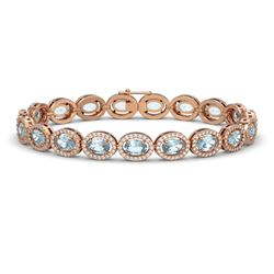11.02 CTW Aquamarine & Diamond Halo Bracelet 10K Rose Gold - REF-258X8T - 40476