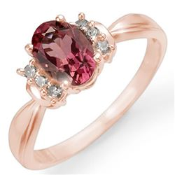 1.06 CTW Pink Tourmaline & Diamond Ring 14K Rose Gold - REF-36K4W - 13548