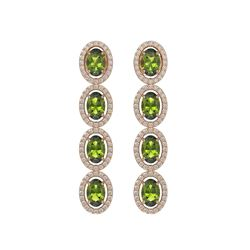 5.88 CTW Tourmaline & Diamond Halo Earrings 10K Rose Gold - REF-121T3M - 40524