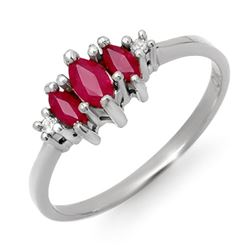 0.54 CTW Ruby & Diamond Ring 10K White Gold - REF-12A9X - 12304