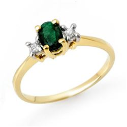 1.04 CTW Emerald & Diamond Ring 10K Yellow Gold - REF-31F8N - 13052
